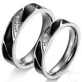 TITANIUM RING Cincin Couple Size 7(F) & 8(M) [GS229] - Black & Black - Cincin